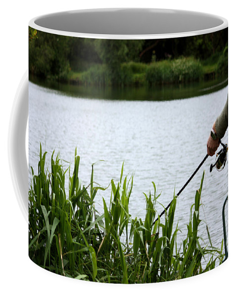 Angler Coffee Mug featuring the photograph The Patient Fisherman by Terri Waters