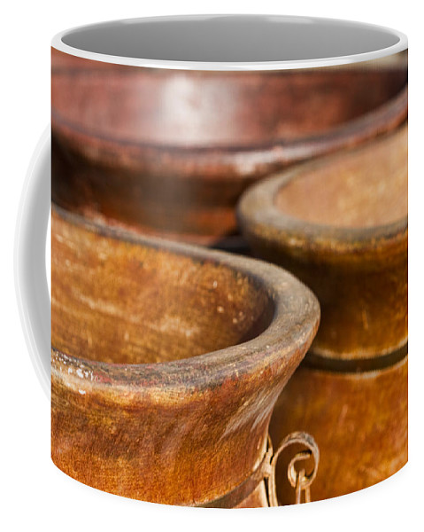 Terracotta Coffee Mug featuring the photograph The Potters Terracotta Wares by Kathy Clark