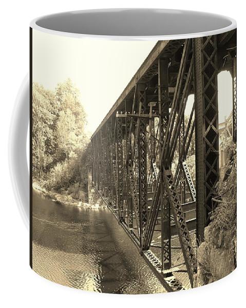 Steel Bridge Coffee Mug featuring the photograph The Retired Railroad Bridge by Sherman Perry