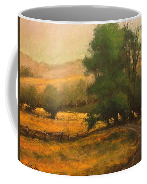 Painting Coffee Mug featuring the painting The Road Less Traveled by Jim Gola