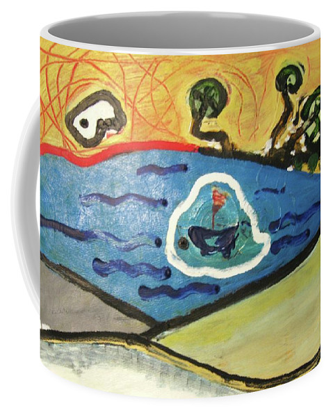 Moon Paintings Coffee Mug featuring the painting The Sun And A Boat Painting by Seon-Jeong Kim