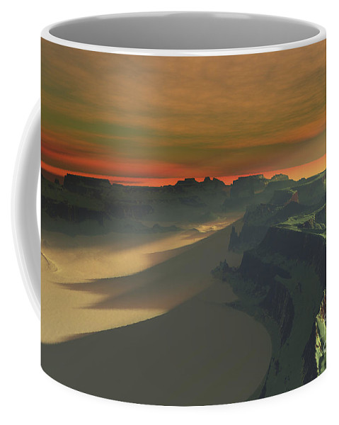 Sand Coffee Mug featuring the digital art The Sun Sets On This Desert Landscape by Corey Ford