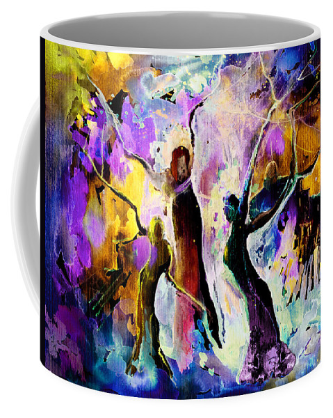 Fantasy Coffee Mug featuring the painting The Three Grace From Spain by Miki De Goodaboom