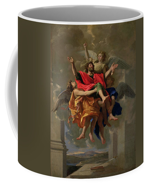 Ecstatic; Angel; Landscape; Sword; Book Coffee Mug featuring the painting The Vision Of St. Paul by Nicolas Poussin