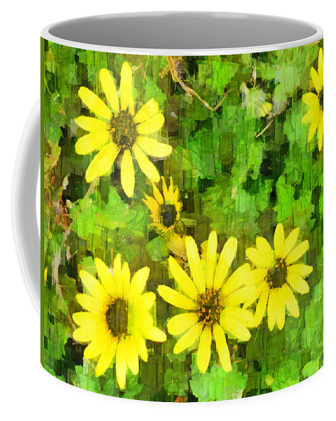 Yellow Coffee Mug featuring the digital art The Yellow Daisies by Steve Taylor