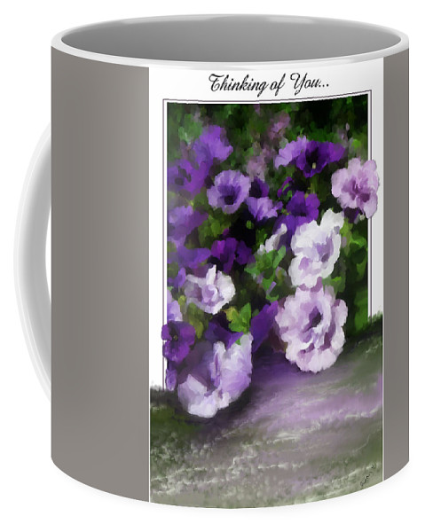 Greeting Card Coffee Mug featuring the painting Thinking Of You by Susan Kinney
