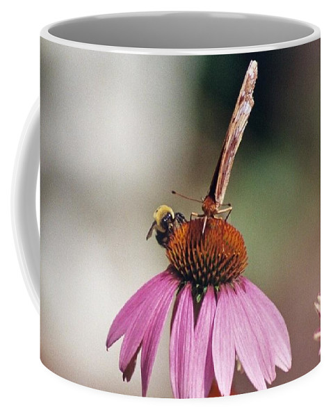 Butterfly And Bee Coffee Mug featuring the photograph This Is My Flower by Wanda J King