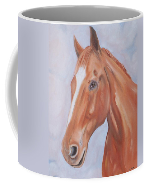 Thoroughbred Coffee Mug featuring the painting Thoroughbred by George Pedro