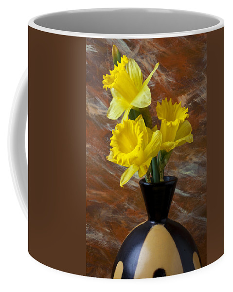 Yellow Coffee Mug featuring the photograph Three Daffodils by Garry Gay