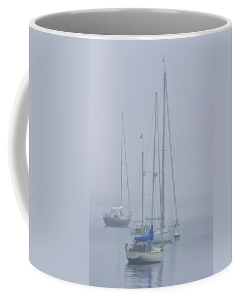Art Coffee Mug featuring the photograph Three Sailboats Harbored In The Mist by Randall Nyhof