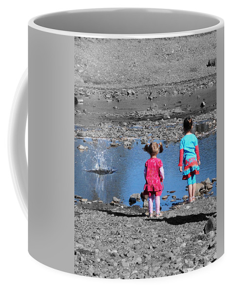 Children Coffee Mug featuring the photograph Throwing Stones by Paul Ward