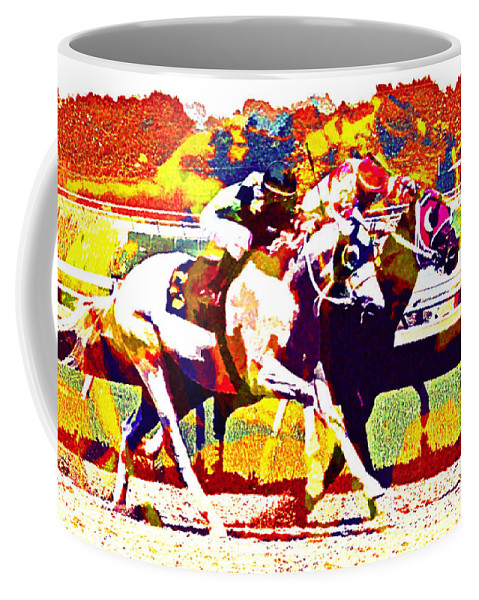 Horses Racing Jockeys Abstract Coffee Mug featuring the photograph To The Finish by Alice Gipson