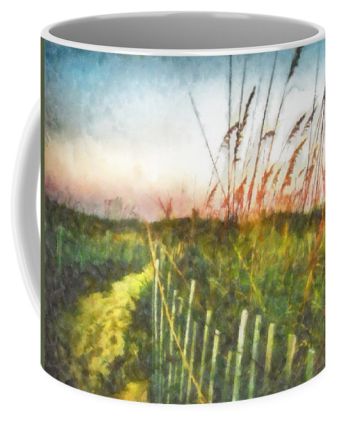 Sea Oats Coffee Mug featuring the painting To The Sea by Lynne Jenkins