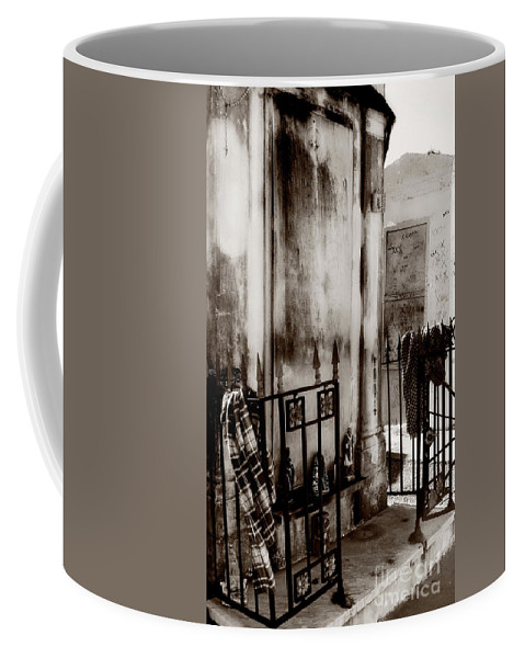 Black And White Coffee Mug featuring the photograph Tomb Famille Perrault Black And White by Kathleen K Parker