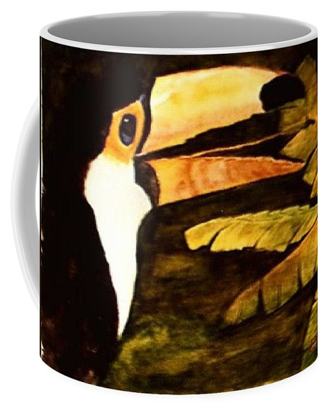 Toucan Coffee Mug featuring the painting Toucan Gone Bananas by Evelyn Froisland