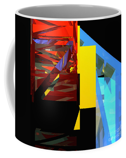 Abstract Coffee Mug featuring the digital art Tower Series 42 Diving Board by Russell Kightley
