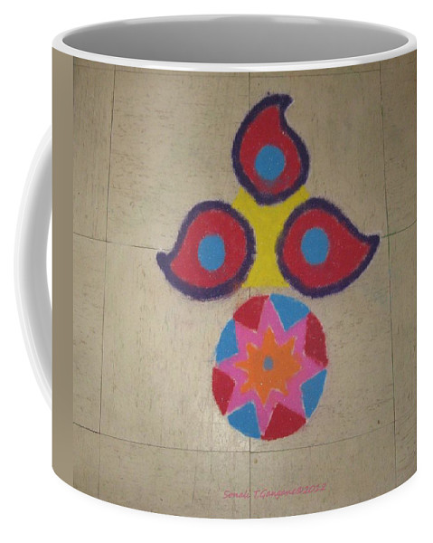 Reflection Of Tradition Coffee Mug featuring the mixed media Tradition Reflection by Sonali Gangane