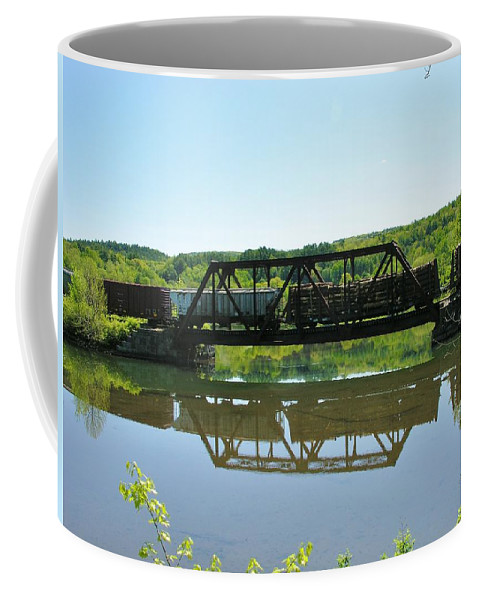 Reflection Coffee Mug featuring the photograph Train And Trestle by Sherman Perry