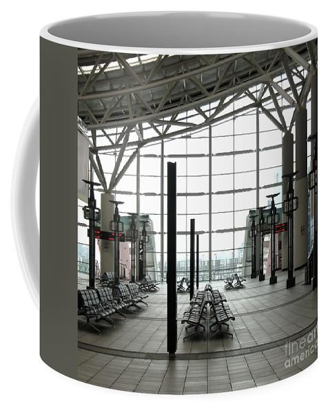Station Coffee Mug featuring the photograph Train Station Waiting Area by Yali Shi
