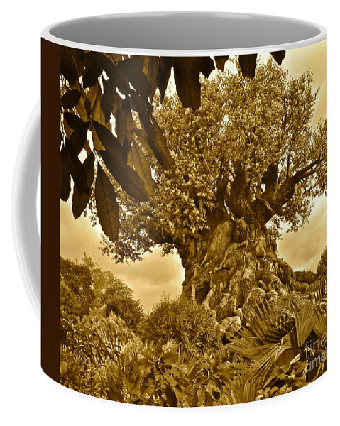 Sepia Coffee Mug featuring the photograph Tree Of Life In Sepia by Carol Bradley
