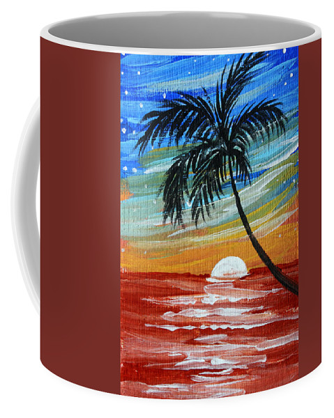Abstract Coffee Mug featuring the painting Tropical Abstract Palm Tree Original Plumeria Flower Painting Sinking Below By Madart by Megan Duncanson