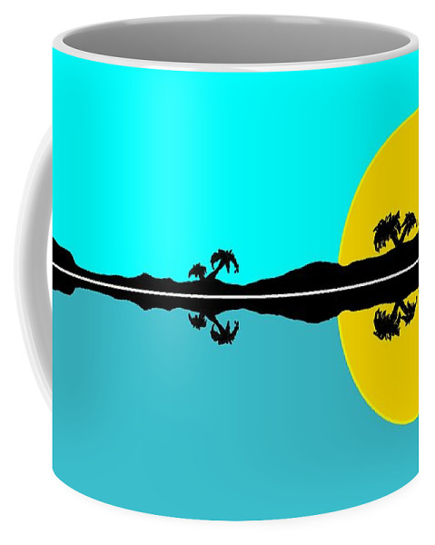Tropical Coffee Mug featuring the painting Tropical Sunset by George Pedro