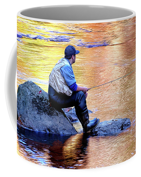 Trout Fisherman Coffee Mug featuring the photograph Trout Fisherman In Autumn by Dave Mills