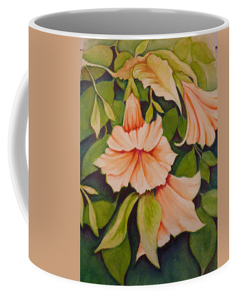 Trumpet Coffee Mug featuring the painting Trumpet Flowers by Carla Parris