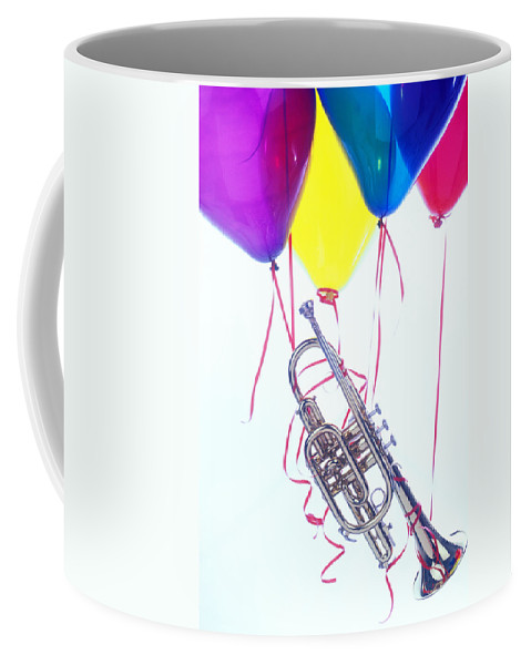 Trumpet Coffee Mug featuring the photograph Trumpet Lifted By Balloons by Garry Gay