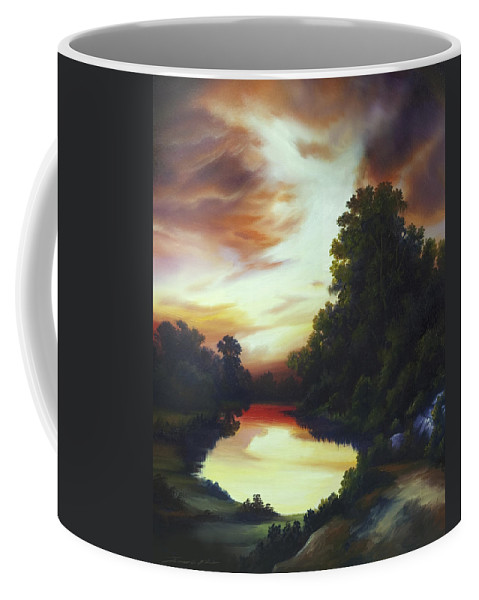 Nature; Lake; Sunset; Sunrise; Serene; Forest; Trees; Water; Ripples; Clearing; Lagoon; James Christopher Hill; Jameshillgallery.com; Foliage; Sky; Realism; Oils Coffee Mug featuring the painting Turner's Sunrise by James Christopher Hill