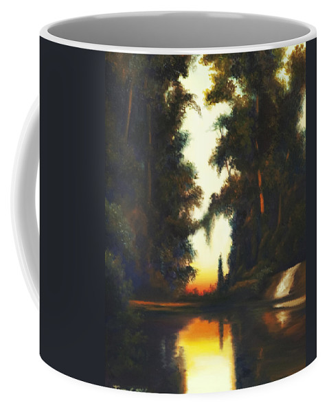 Nature; Lake; Sunset; Sunrise; Serene; Forest; Trees; Water; Ripples; Clearing; Lagoon; James Christopher Hill; Jameshillgallery.com; Foliage; Sky; Realism; Oils Coffee Mug featuring the painting Turner's Sunset by James Christopher Hill