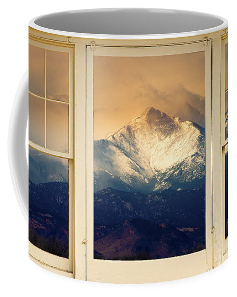 Windows Coffee Mug featuring the photograph Twin Peaks Meek And Longs Peak Window View by James BO Insogna