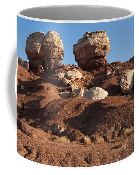 Landscapes Coffee Mug featuring the photograph Twin Rocks Capitol Reef Np by Sandra Bronstein