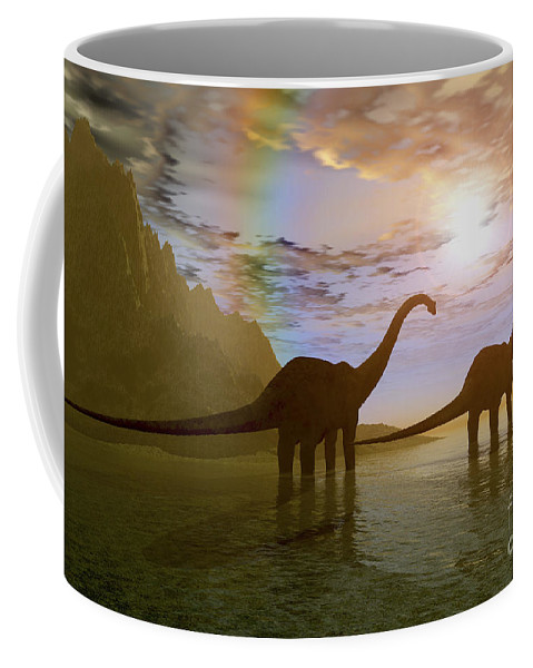 Diplodocus Coffee Mug featuring the digital art Two Diplodocus Dinosaurs Wade by Corey Ford