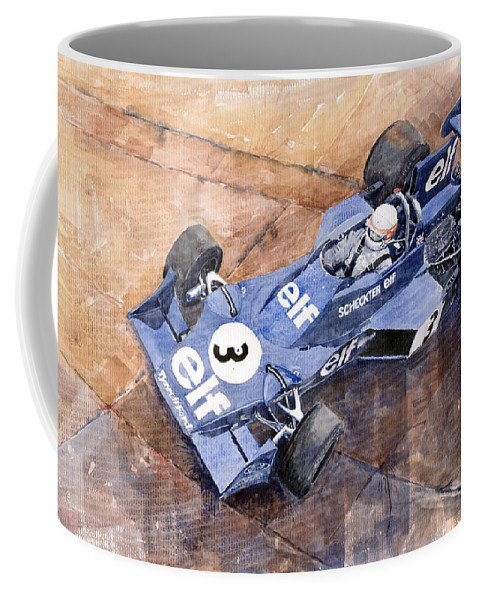 Watercolor Coffee Mug featuring the painting Tyrrell Ford 007 Jody Scheckter 1974 Swedish Gp by Yuriy Shevchuk