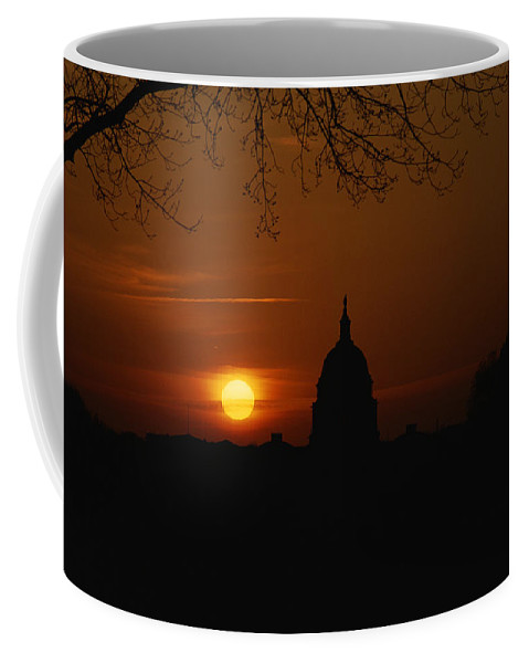 North America Coffee Mug featuring the photograph United States Capitol At Sunrise by Brian Gordon Green