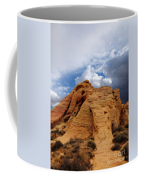 Valley Of Fire Coffee Mug featuring the photograph Up To The Clouds by Vivian Christopher