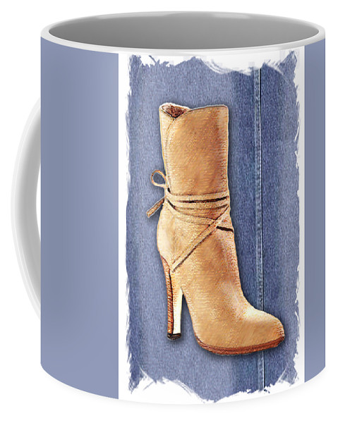 Shoes Heels Pumps Fashion Designer Feet Foot Shoe Stilettos Painting Paintings Illustration Illustrations Sketch Sketches Drawing Drawings Pump Stiletto Fetish Designer Fashion Boot Boots Footwear Sandal Sandals High+heels High+heel Women's+shoes Graphic Sophisticated Elegant Modern Coffee Mug featuring the painting Urban Cowgirl Suede Boots by Elaine Plesser