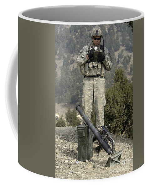 Afghanistan Coffee Mug featuring the photograph U.s. Army Soldier Gets Information by Stocktrek Images