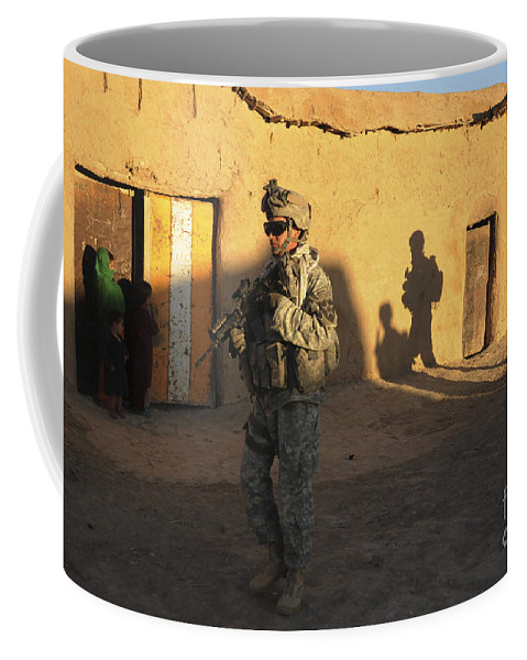 Afghanistan Coffee Mug featuring the photograph U.s. Army Soldiers Conduct A Dismounted by Stocktrek Images