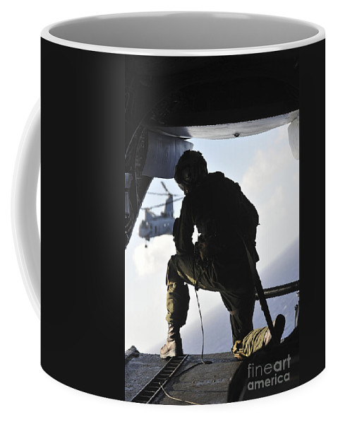 Marine Expeditionary Unit Coffee Mug featuring the photograph U.s. Marine Looks Out The Back by Stocktrek Images