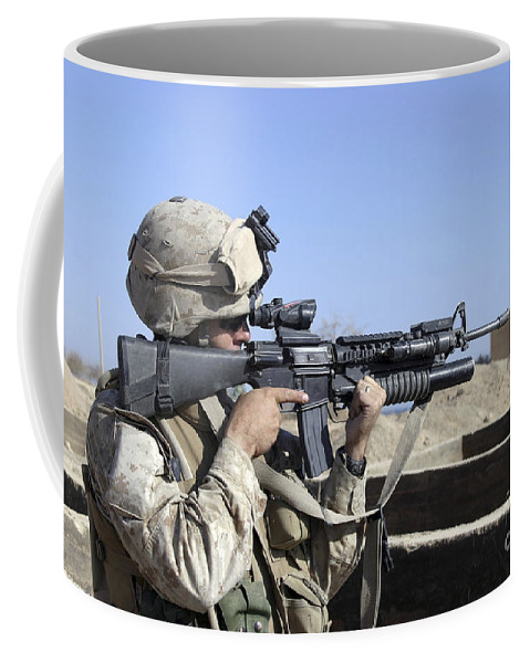40mm Coffee Mug featuring the photograph U.s. Marine Sites Through The Scope by Stocktrek Images