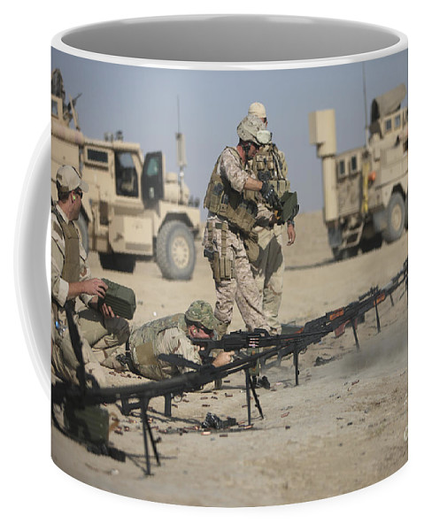 Operation Enduring Freedom Coffee Mug featuring the photograph U.s. Soldiers Prepare To Fire Weapons by Terry Moore