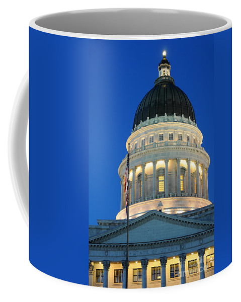 Utah Capitol Coffee Mug featuring the photograph Utah State Capitol Building Dome At Sunset by Gary Whitton