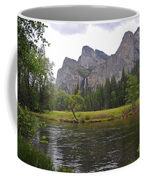 Yosemite Coffee Mug featuring the photograph Valley View Of Bridalveil Falls by Lynn Bauer