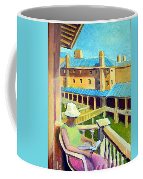 Woman Coffee Mug featuring the painting Vantage Point by Steve Leibowitz