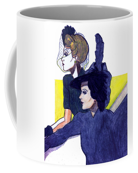 Nostalgia Coffee Mug featuring the drawing Veil And Feather by Mel Thompson