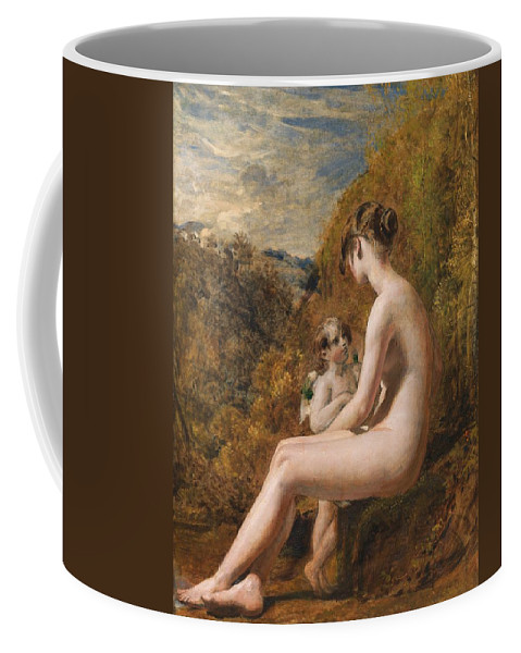 Venus And Cupid (oil On Millboard) Nude; Female; Landscape; Wings; Love; Seated; Full Length; Aphrodite; Talking; Conversation; Nude Coffee Mug featuring the painting Venus And Cupid by William Etty