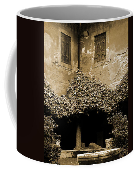 Verona Coffee Mug featuring the photograph Verona Courtyard II In Sepia by Greg Matchick