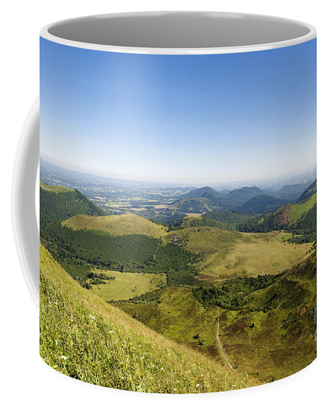 Chains Coffee Mug featuring the photograph View From Puy De Dome Onto The Volcanic Landscape Of The Chaine Des Puys. Auvergne. France by Bernard Jaubert